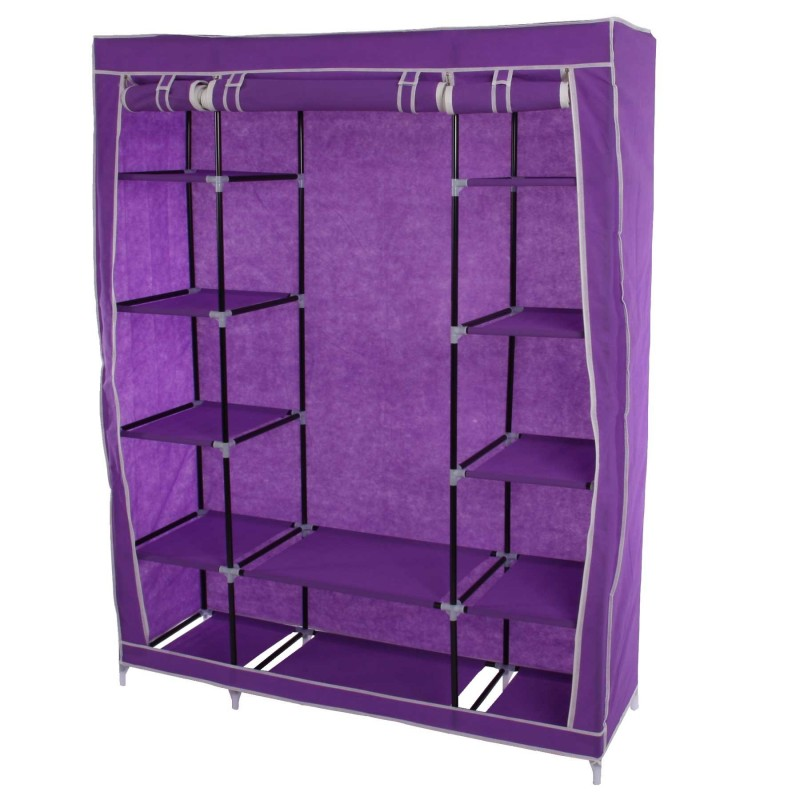 dressing pliage placard camping placard placard de rangement armoire 173x135x45cm violet. Black Bedroom Furniture Sets. Home Design Ideas