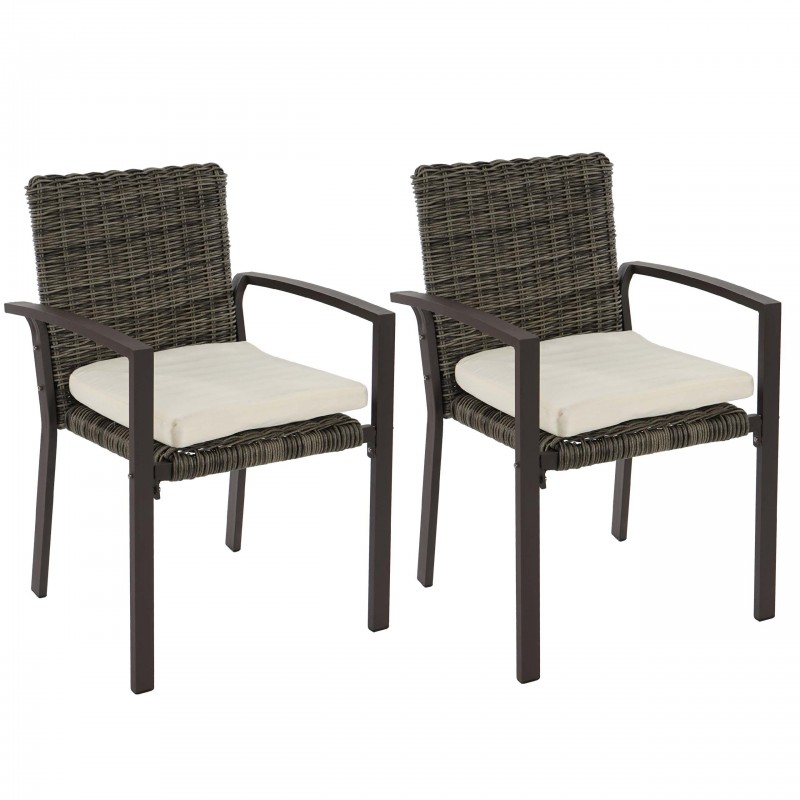chaises lot de 2 chaises de jardin en rotin gris naturel. Black Bedroom Furniture Sets. Home Design Ideas