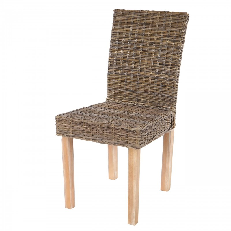Chaises lot de 2 chaises en rotin kubu for Chaise en rotin kubu