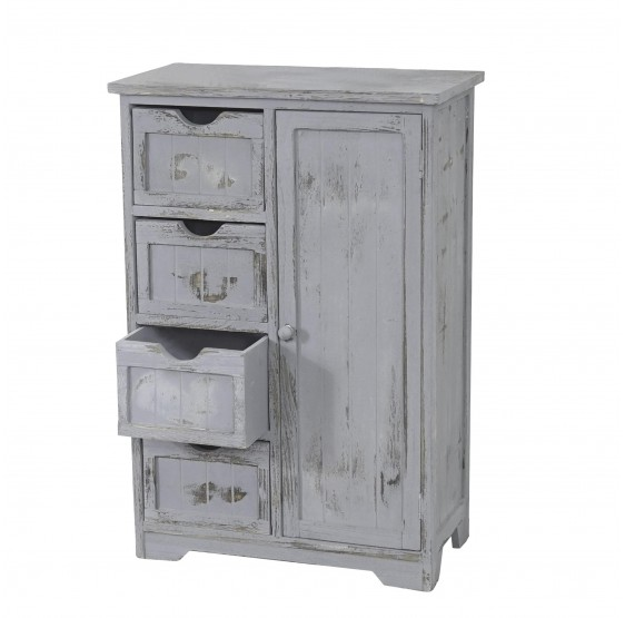 armoire commode, 82x55x30cm, Shabby gris vintage chic