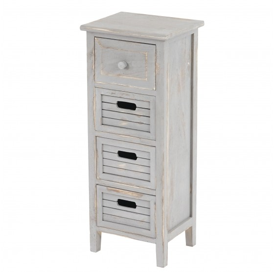 Armoire Commode 74x30x25cm, Shabby Chic Vintage ~ gris