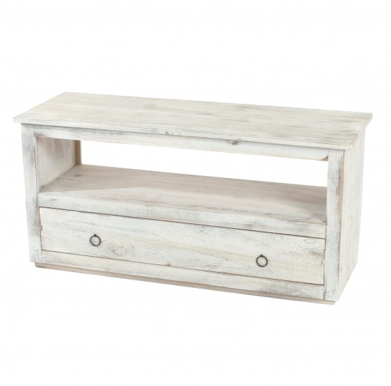 TV rack TV Stand Lowboard TV Cube, Shabby blanc vintage chic ~
