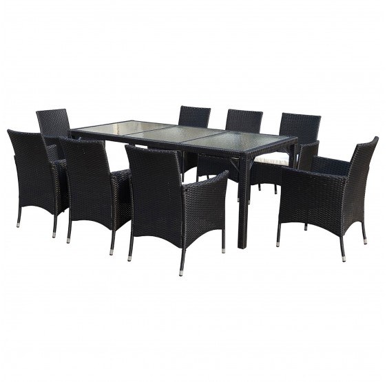Awesome salon de jardin rotin anthracite contemporary for Table verre 6 chaises