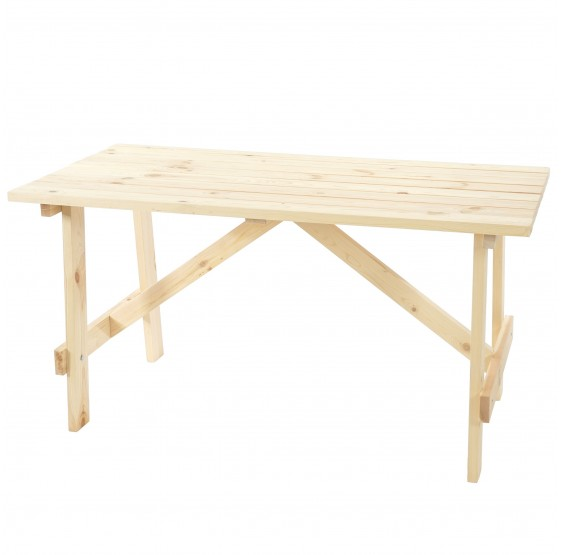 Table de jardin MELISSE, en pin massif, 148x70 cm