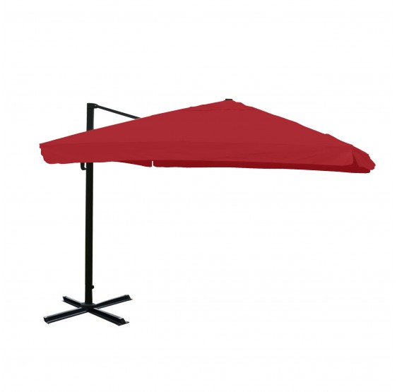 Restauration parasol de luxe Aluminium 3x4m ~ Flap, Bordeaux sans support