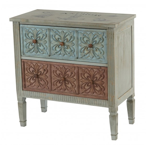 Commode Aveiro Buffet armoire shabby chic vintage, 80x79x40cm