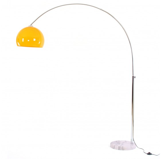 lampe en arc, lampadaire deportée LOUNGE DEAL II lampadaire, chrome ~ orange, 180cm