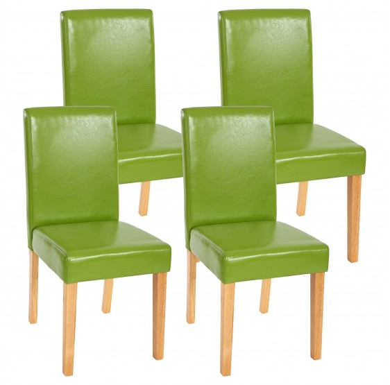 chaises lot de 4 chaise en similicuir pieds en bois massif vert. Black Bedroom Furniture Sets. Home Design Ideas