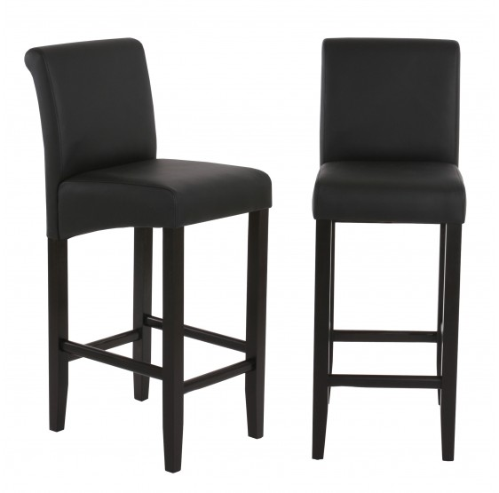 tabouret de bar lot de 2 tabouret de bar tabouret de bar lancy noir mat pieds fonc es similicuir. Black Bedroom Furniture Sets. Home Design Ideas
