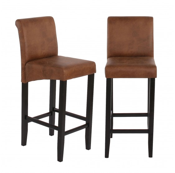 tabouret de bar lot de 2 tabouret de bar tabouret de bar lancy daim look pieds fonc es textile. Black Bedroom Furniture Sets. Home Design Ideas