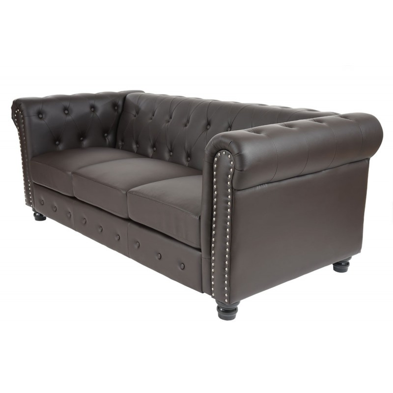Canap s luxe 3 places canap lit salon commodeerfield similicuir pieds ronds - Canape simili cuir marron ...
