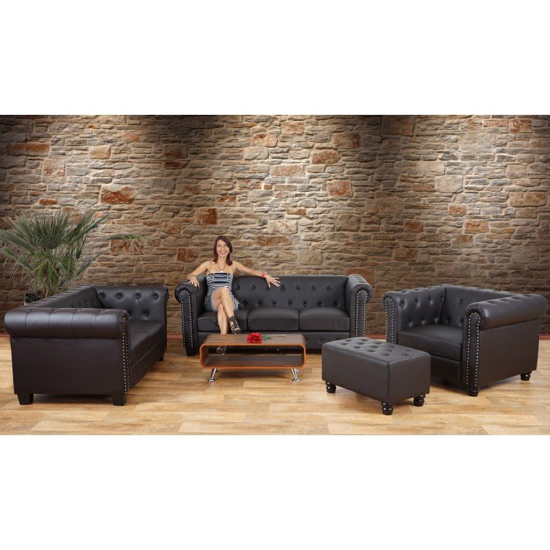 Canap s luxe 3 places canap lit salon commodeerfield for Canape simili cuir marron