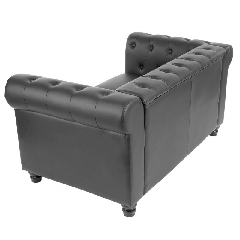 Canap s luxe 2 places canap lit salon commodeerfield similicuir pieds ronds noir - Canape 2 places simili cuir ...