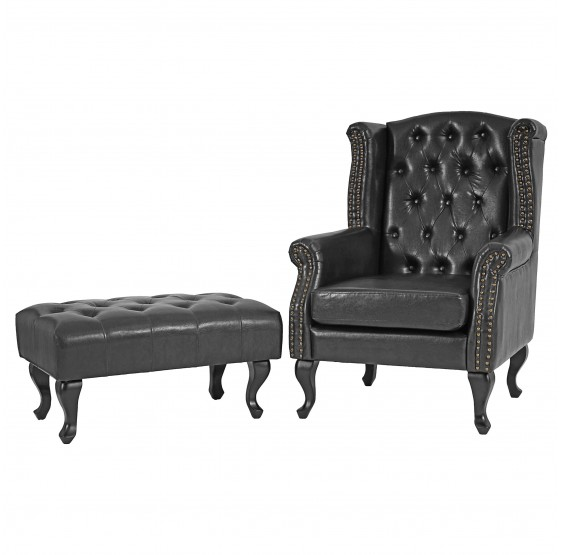 Fauteuil inclinable Fauteuil Club Fauteuil Commodeerfield similicuir noir avec pouf