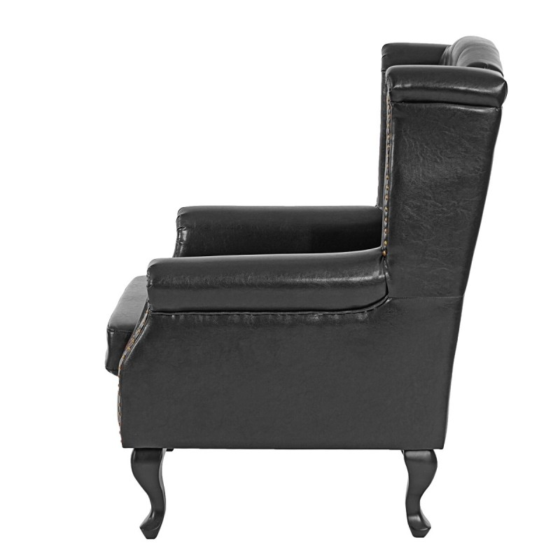 fauteuils fauteuil inclinable fauteuil club fauteuil commodeerfield similicuir noir avec pouf. Black Bedroom Furniture Sets. Home Design Ideas