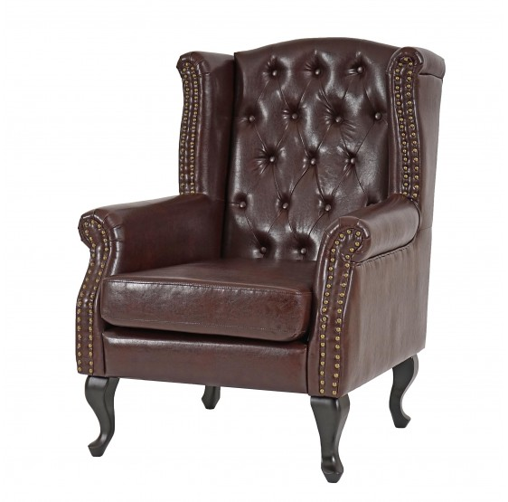 Fauteuil inclinable Fauteuil Club Fauteuil Commodeerfield similicuir antique brun sans pouf