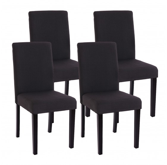 chaises lot de 4 chaises en textile noir pieds en bois massif noir. Black Bedroom Furniture Sets. Home Design Ideas