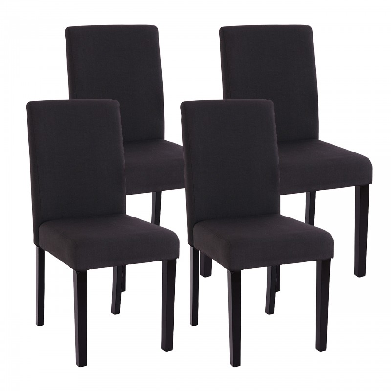 chaises lot de 4 chaises en textile noir pieds en bois. Black Bedroom Furniture Sets. Home Design Ideas