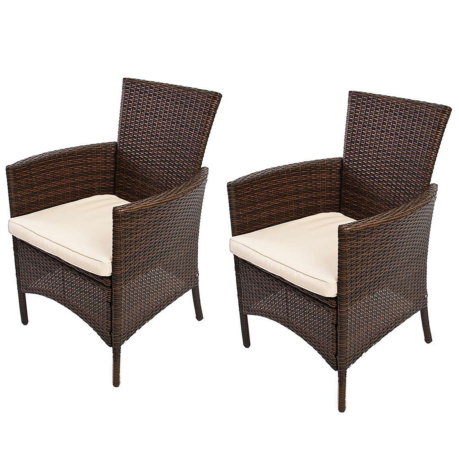 fauteuils lot de 2 luxe poly rotin aluminium jardin chaise. Black Bedroom Furniture Sets. Home Design Ideas