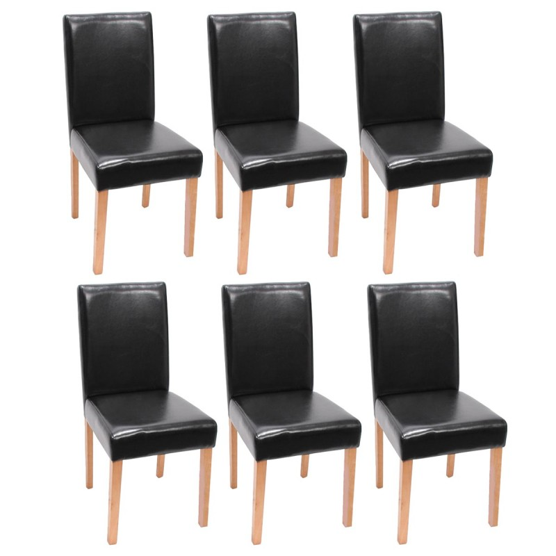 chaises lot de 6 chaises en similicuir noir pieds en bois massif. Black Bedroom Furniture Sets. Home Design Ideas