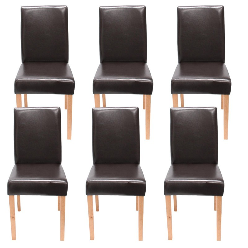 chaises lot de 6 chaises en similicuir brun pieds en bois massif. Black Bedroom Furniture Sets. Home Design Ideas