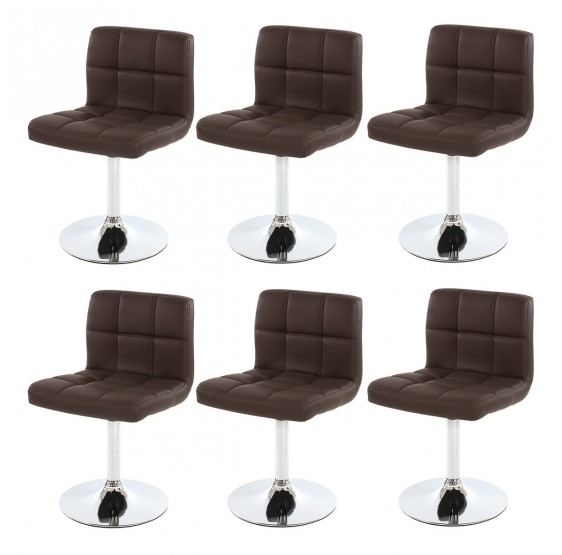Lot de 6 chaises pivotant en Similicuir chromé ~ Brun