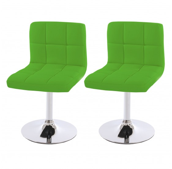 Lot de 2 chaise pivotante en Similicuir chromé ~ Vert