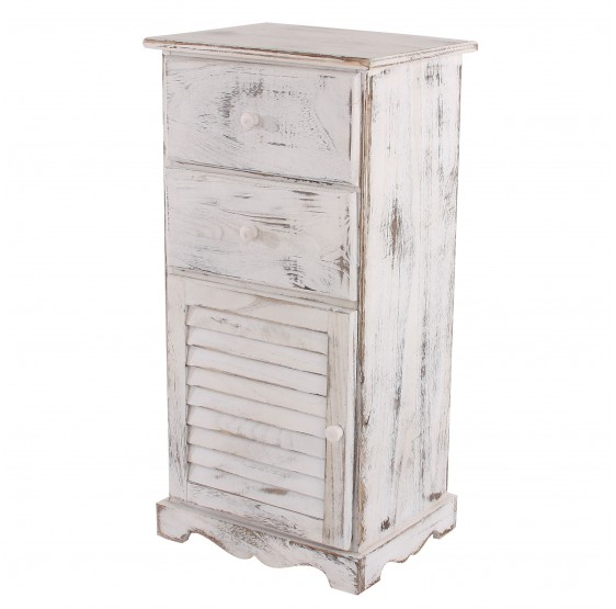 armoire commode, 81x40x32cm, Shabby blanc vintage chic ~