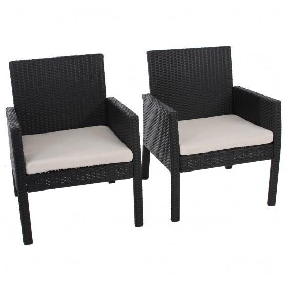 fauteuils fauteuil lot de 2 poly rotin fauteuil de jardin sanremo incl seat anthracite. Black Bedroom Furniture Sets. Home Design Ideas