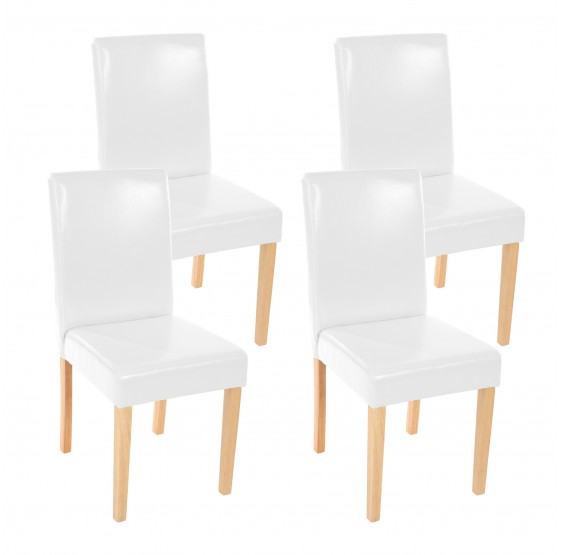 chaises lot de 4 chaises salle manger en similicuir blanc pieds en bois massif. Black Bedroom Furniture Sets. Home Design Ideas
