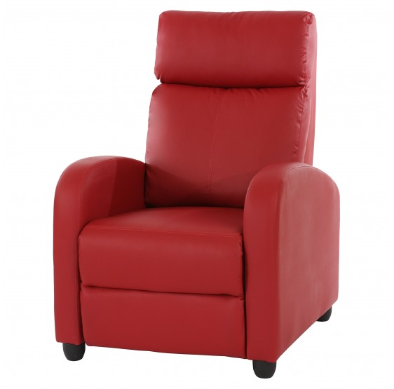 chaise TV fauteuil inclinable fauteuil Denver, similicuir rouge