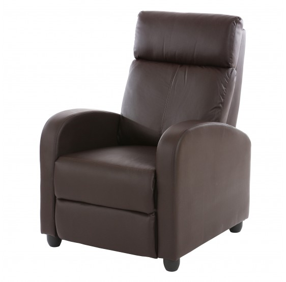 chaise TV fauteuil inclinable fauteuil Denver, simili-cuir brun