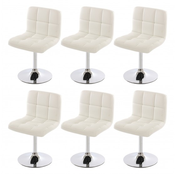 Lot de 6 chaises pivotante en Similicuir chromé ~ Blanc