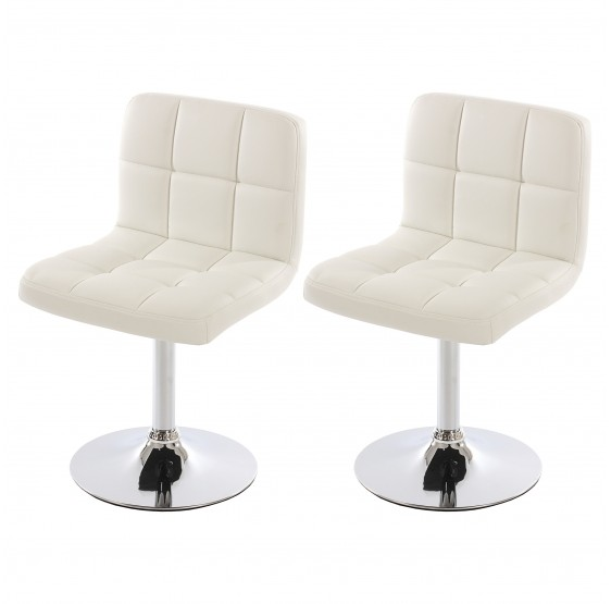 Lot de 2 chaises pivotante en Similicuir chromé ~ Blanc