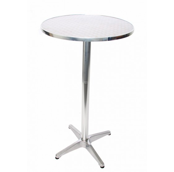 Aluminium table de bar + table de bar, café et bar, réglable en hauteur de 70 / 110cm, D = 60cm ~ pliable