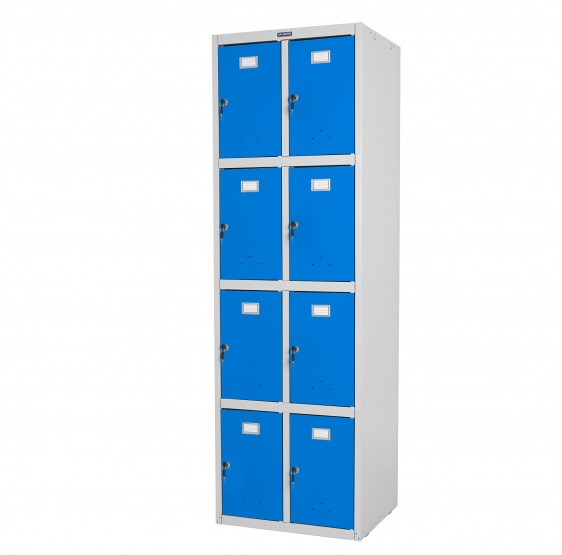 Safe Valberg casier vestiaire meuble double casier, 183x58x50cm métallique ~ bleu