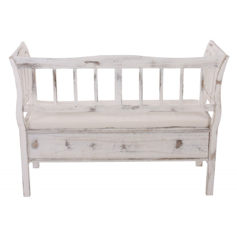 bancs banc le stockage banc banque compartiment de rangement coussin blanc minable. Black Bedroom Furniture Sets. Home Design Ideas
