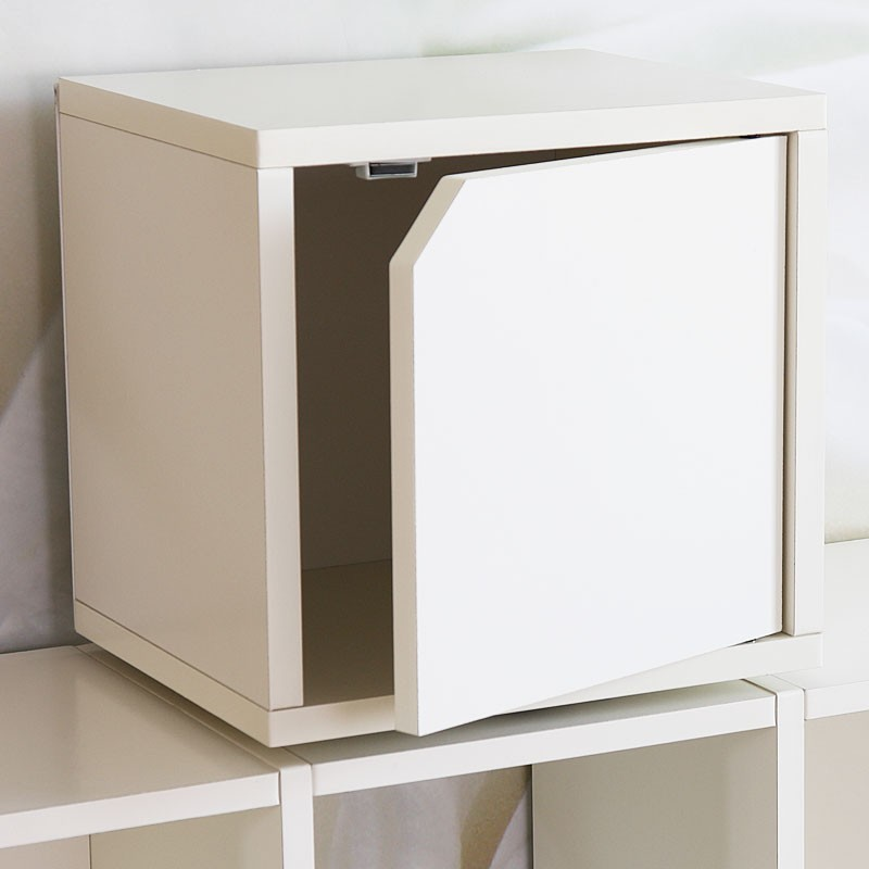 Cube modulable santa tagre blanc avec porte with placard for Meuble cube modulable