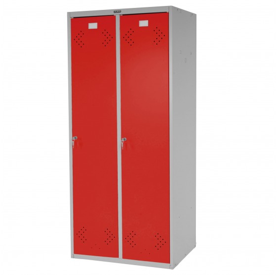 Double casier Valberg casier vestiaire Locker, 183x81x50cm par ASR ~ rouge