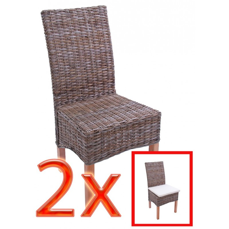 accueil 2x chaise manger chaise en osier chaise m44 rotin kubu sans coussin de si ge. Black Bedroom Furniture Sets. Home Design Ideas