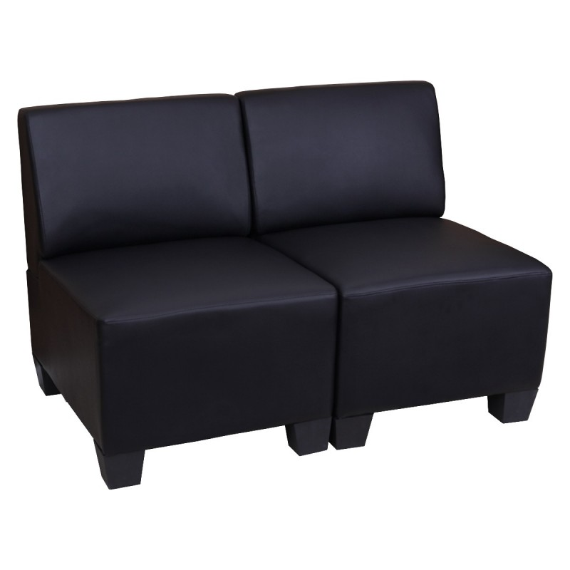canap s modular 2 places canap lit lyon similicuir noir sans accoudoirs. Black Bedroom Furniture Sets. Home Design Ideas