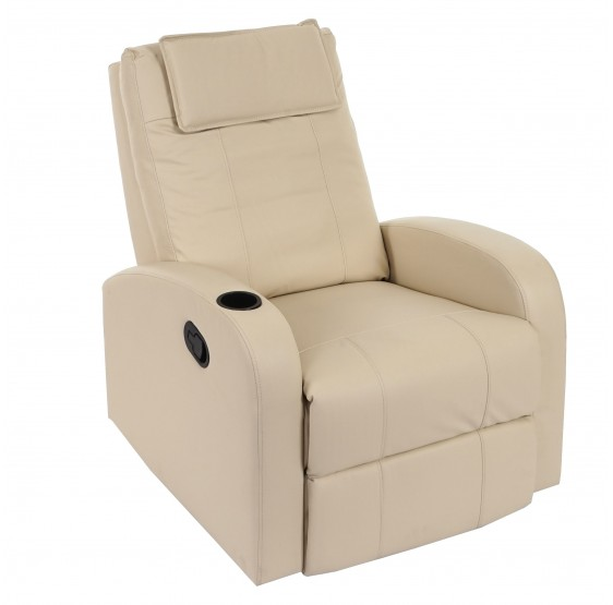 Fernsehsessel Durham, chaise TV fauteuil inclinable inclinable, crème similicuir