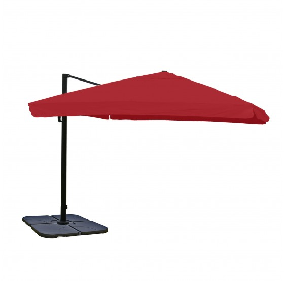 Restauration parasol de luxe parasol N22, 4,3 m ~ Flap, bordeaux avec support