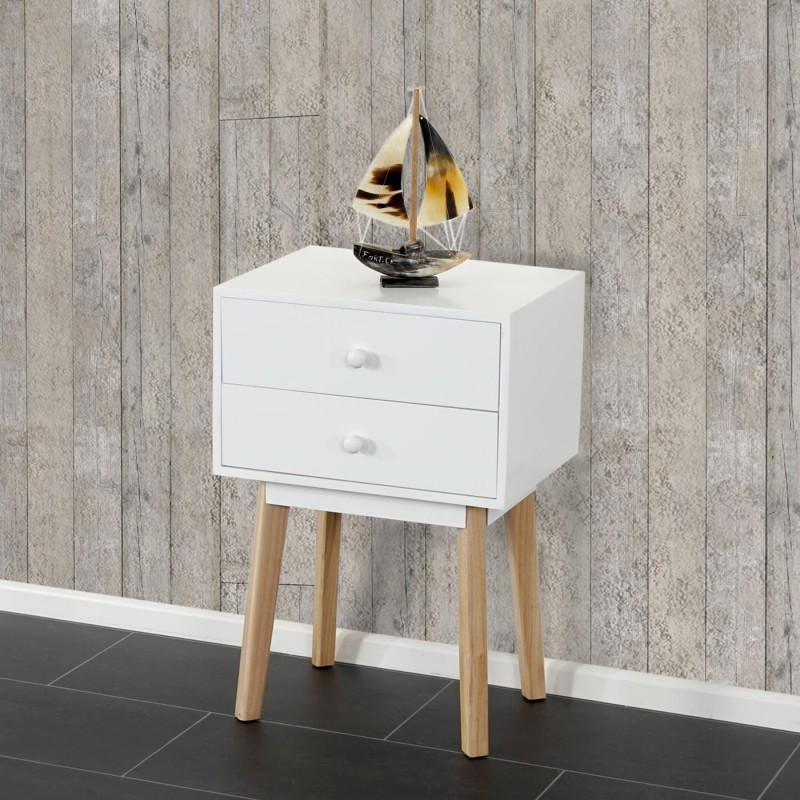 commodes chest malm t271 c t table de chevet design r tro 59x40x30cm tiroir blanc. Black Bedroom Furniture Sets. Home Design Ideas