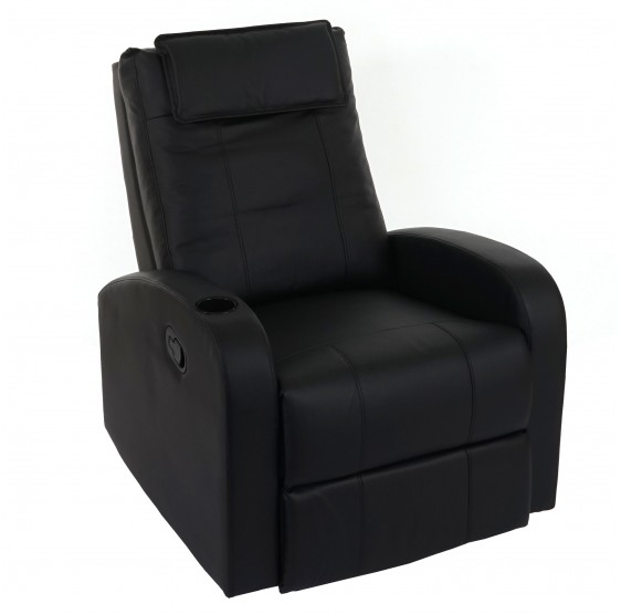 Fernsehsessel Durham, chaise TV fauteuil inclinable inclinable, similicuir noir