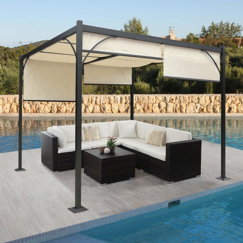 auvent et barnum pergola grenade gazebo canop e stable cadre 6cm en aluminium toit ouvrant 3x3m. Black Bedroom Furniture Sets. Home Design Ideas
