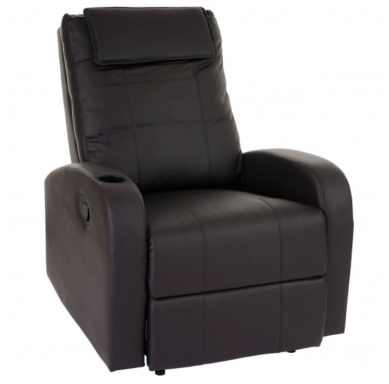Fernsehsessel Durham, chaise TV fauteuil inclinable inclinable, similicuir café