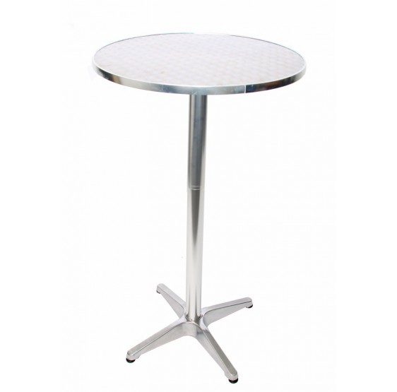 10x table de bar en aluminium, table de bar, café, réglable en hauteur 70 / 110cm Ø = 60cm ~ pied pliable avec Betoneinguss