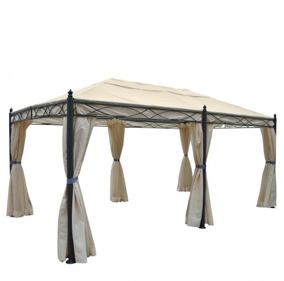 pergola mira gazebo 12cm en aluminium de luxe cadre flanc moustiquaire 3 5x3 5m nuance. Black Bedroom Furniture Sets. Home Design Ideas