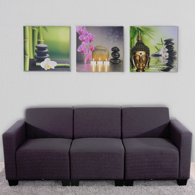 tableau et cadre photo canvas fresque keilrahmenbild imprimer 3 pieces 150x50cm bouddha. Black Bedroom Furniture Sets. Home Design Ideas